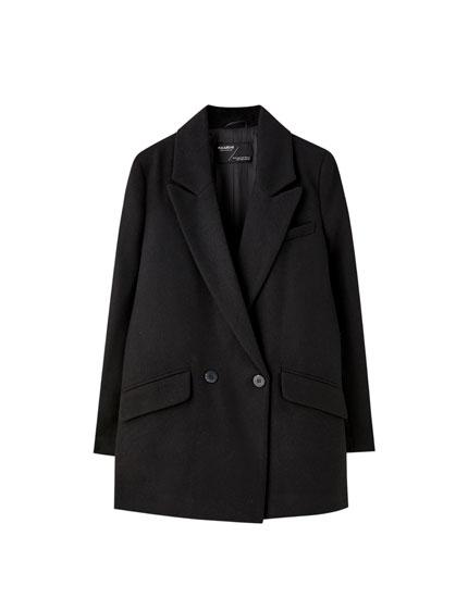 Υφασμάτινο παλτό με διπλό κουμπί