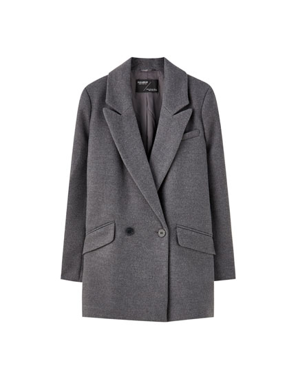 Double-breasted synthetic wool coat