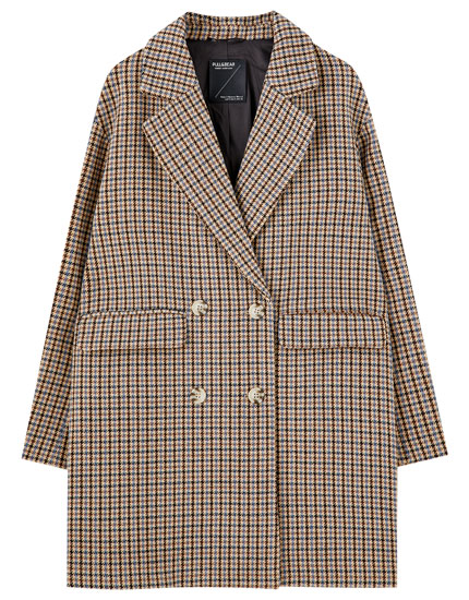 Four-button synthetic wool coat