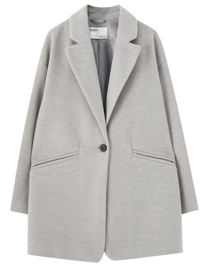 Grey classic-cut coat in synthetic wool