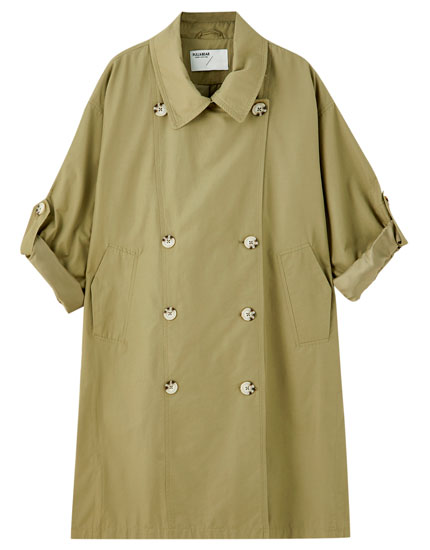 Oversized trench coat with contrast buttons and vents
