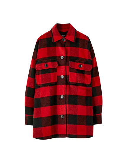 Oversized synthetic wool overshirt with a check print