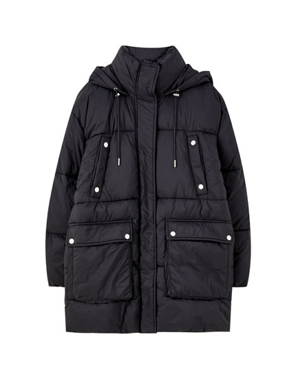Long quilted parka with hood