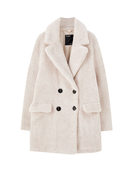 Four-button faux shearling coat