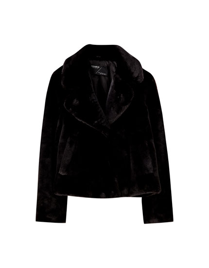 Short black faux fur coat