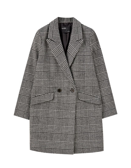 Synthetic wool check print coat