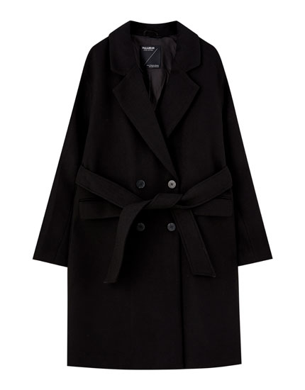 Black synthetic wool coat with belt