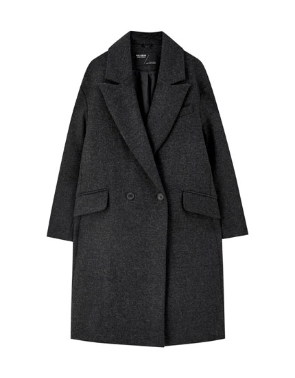 Synthetic wool coat with grey herringbone