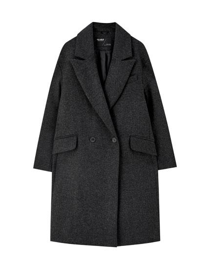 Palton din stofă herringbone gri