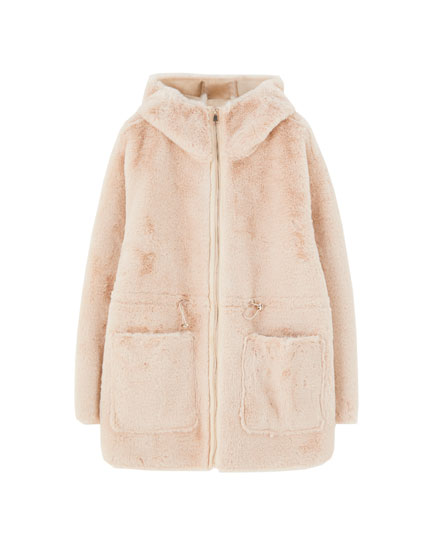 Faux fur coat with elastic drawstrings
