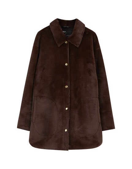 Faux fur overshirt with snap buttons
