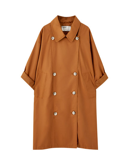 Oversized trench coat with vent