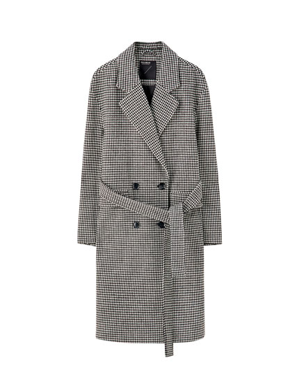 Checked synthetic wool coat with belt