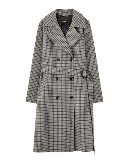 Long checked cloth coat