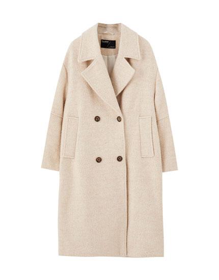 Beige synthetic wool herringbone coat