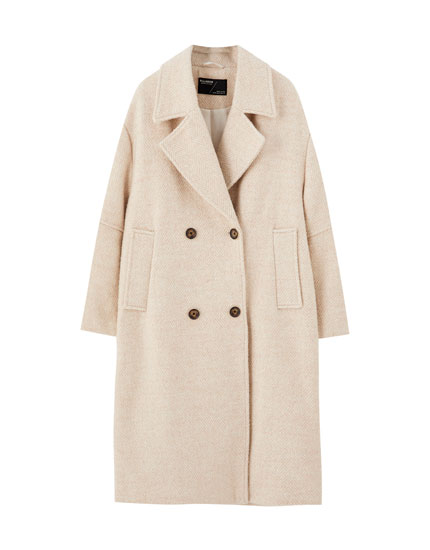 Beige synthetic wool herringbone coat