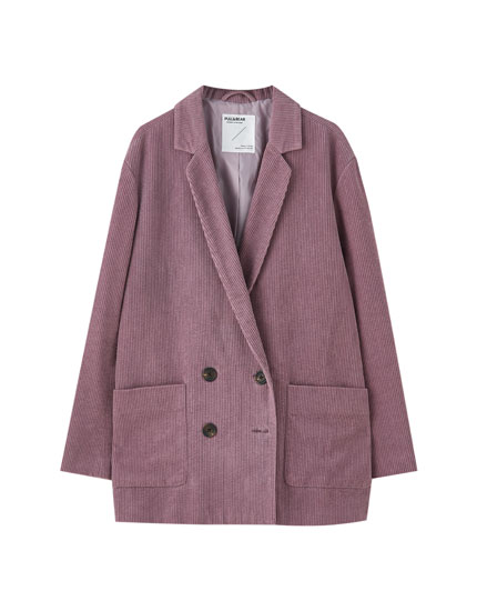 Corduroy blazer with patch pockets