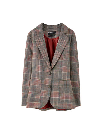 Check blazer with patch pockets