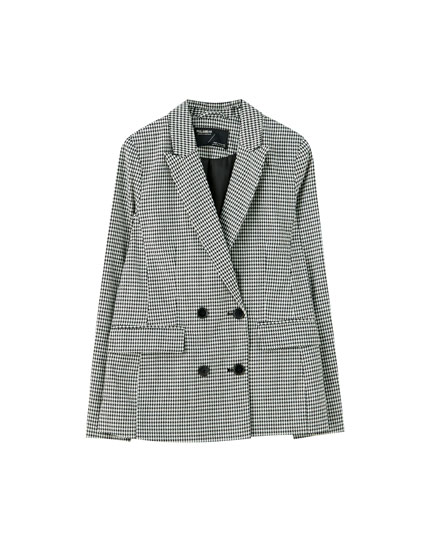 Four-button double-breasted blazer