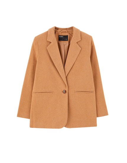 Check synthetic wool blazer