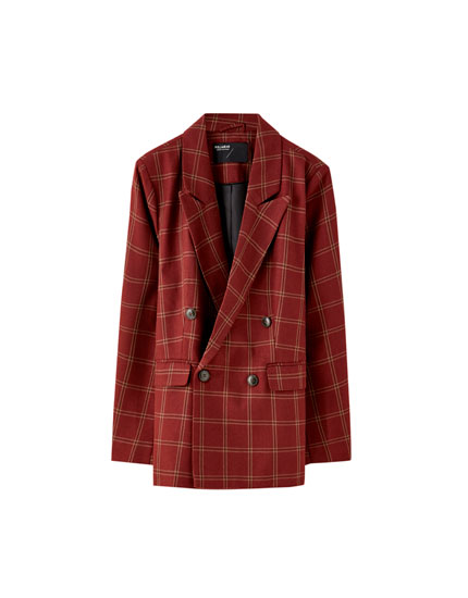 Four-button check blazer