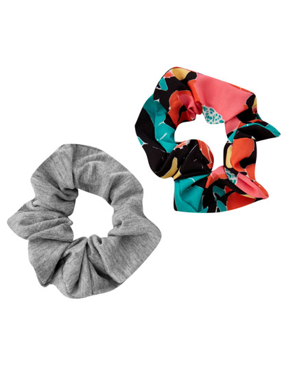 Pack of neon floral scrunchies