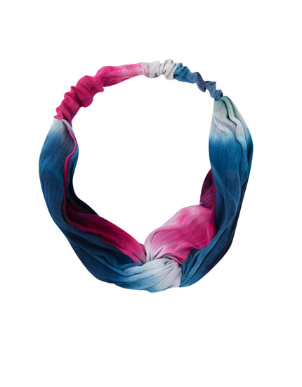 Coloured tie-dye hair ribbon