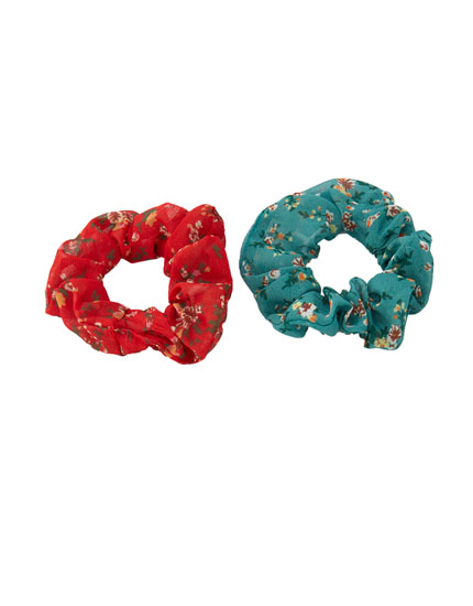 Pack of 2 floral mini scrunchies