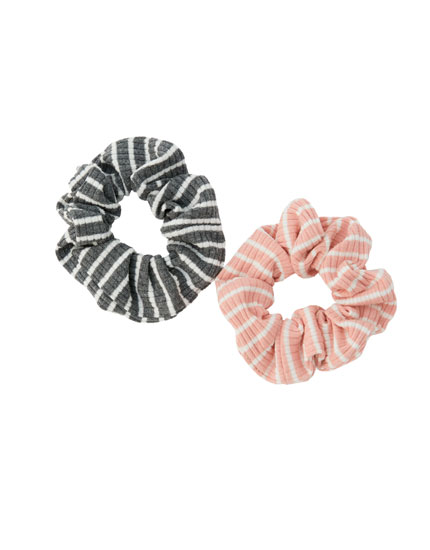 Pack of 2 striped ribbed scrunchies
