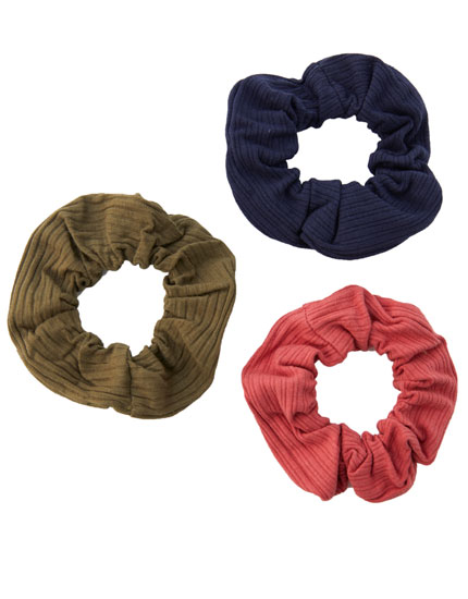 Pack of 3 plain ribbed scrunchies