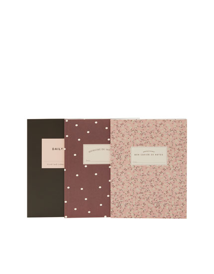 3-pack of floral and polka dot notebooks