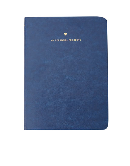 Libreta azul efecto piel