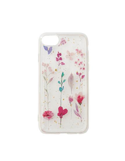 Carcasa smartphone flores rosas purpurina