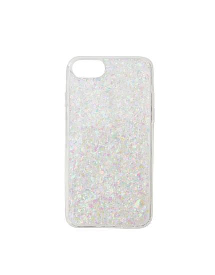 Carcasa smartphone purpurina plateada