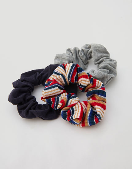 Pack of 3 multicoloured stripe scrunchies