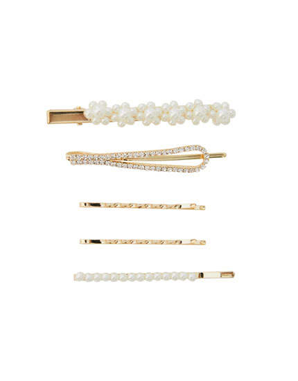 5-pack of pearly hair slides