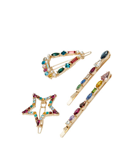 4-pack of rhinestone hairslides