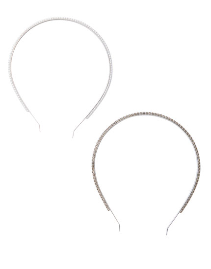 2-pack of rhinestone and faux pearl headbands
