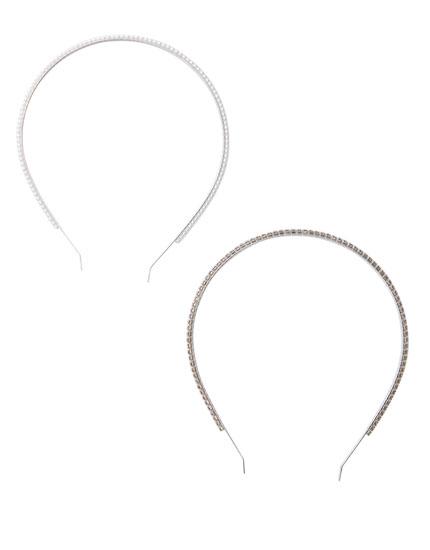 Paquet 2 diademes perles brillantor