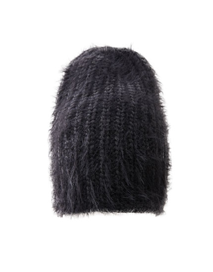 Short faux fur knit hat