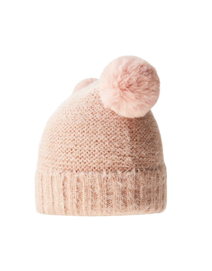 Fuzzy hat with double pompom