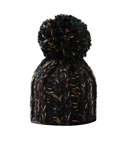Coloured pompom beanie