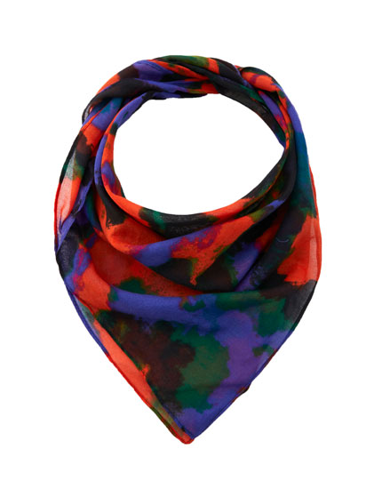 Coral and purple camouflage scarf