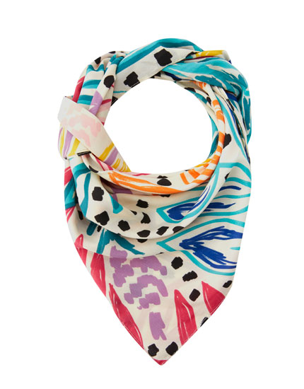 Colourful tropical print scarf