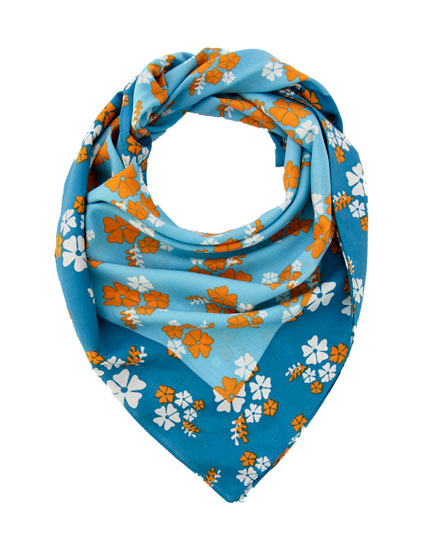 Orange floral print headscarf