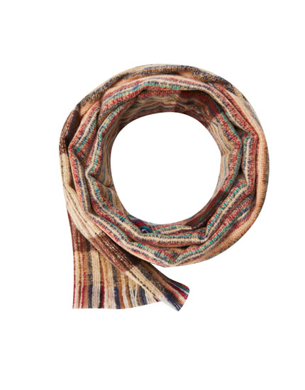 Striped scarf with contrast fringe