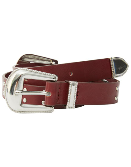 Studded belt with double buckle