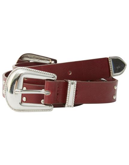 Cinturón doble hebilla tachas