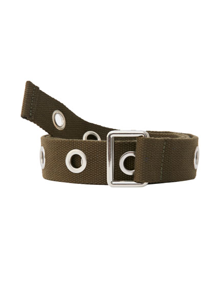 Fabric belt with eyelets