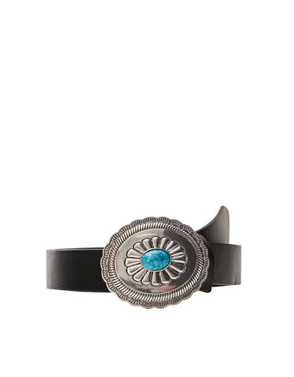 Black belt with turquoise buckle